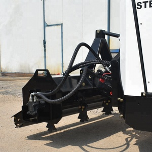 hydraulic rotary flail mower attachment for skid loaders