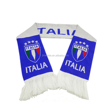 Custom Country national acrylic winter jacquard knitted football scarf