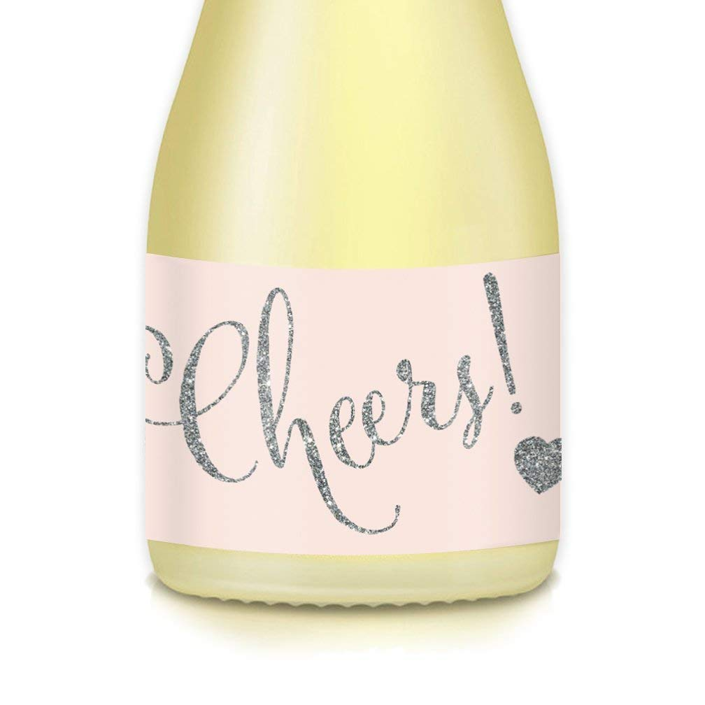 """CHEERS! Mini Champagne & Wine Bottle Labels, 20 Count All Occasion Sparkling Silver Decals Celebrate 21st Birthday, Engagement Bachelorette Party, Wedding Reception, 3.5"""" x 1.75"""" Gift Bag Stickers"""