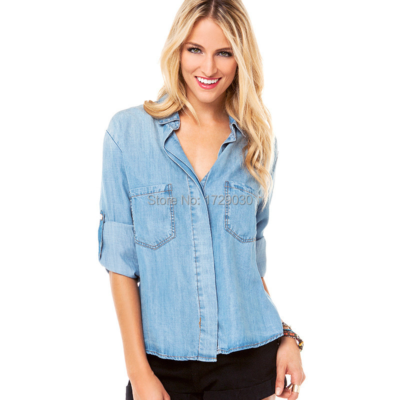 New 2015 Hot European and American Blue Fashion Long Sleeve with Pocket Summer Denim Shirt For Women Ladies and Girls SHI-0002