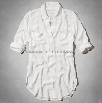 86ed92fe0 Summer New design Ladies Breathable Long sleeve Double pockets White Linen  Shirts QR-4815