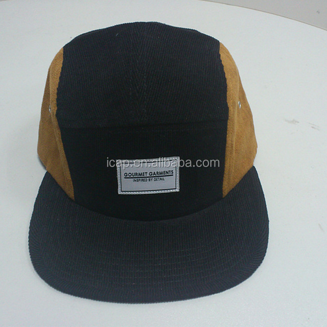 wholesale high quality corduroy and sude 5panel sport caps customised snapback caps with woven label
