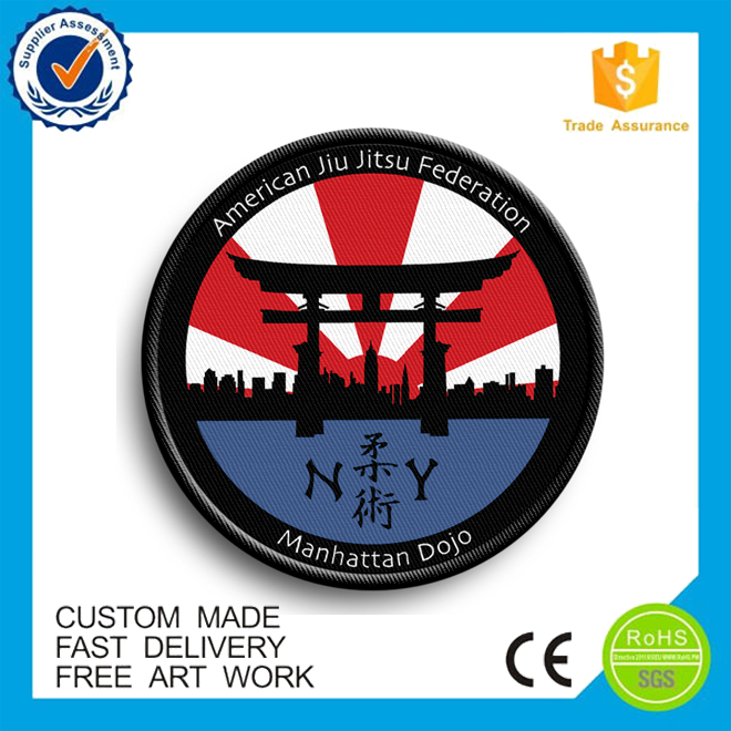 high quality custom iron on Cotton Fabric Embroidery Patch for uniform