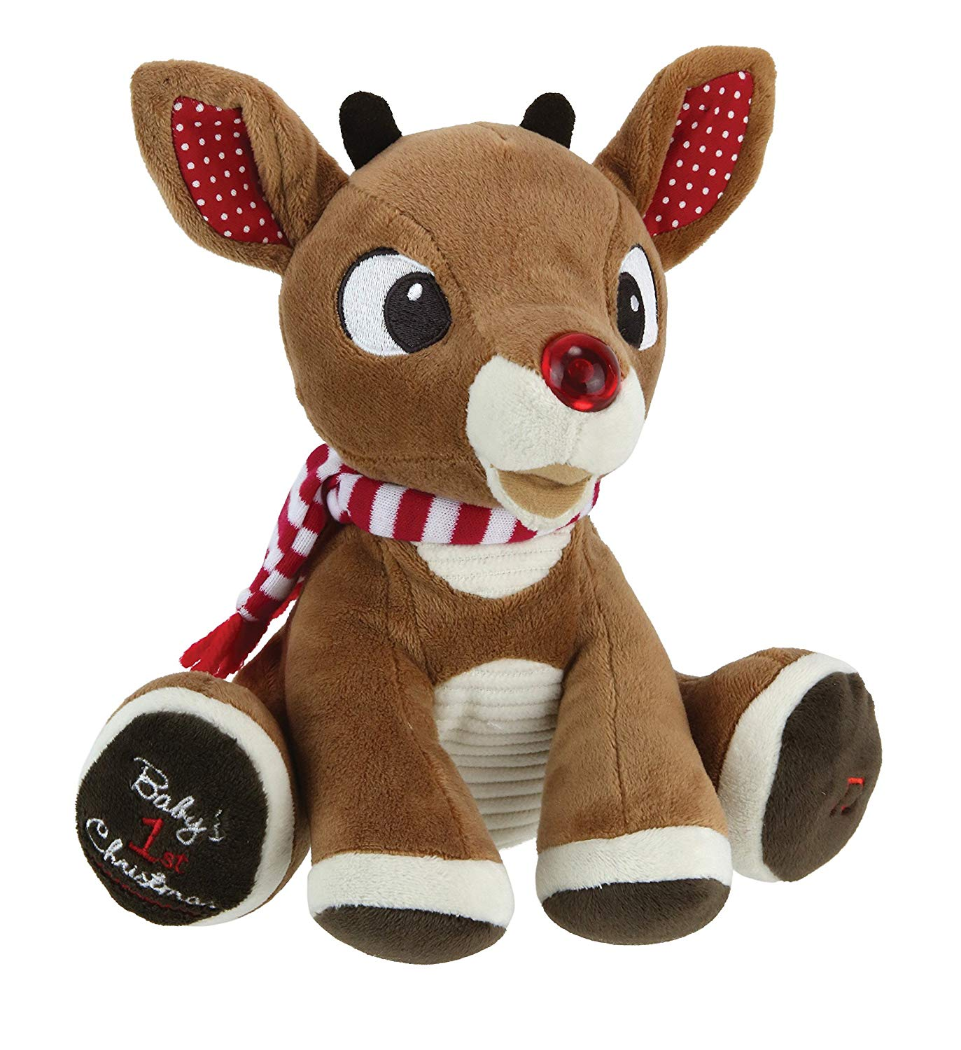 """Rudolph the Red-Nosed Reindeer, Baby's First Christmas Rudolph Plush with Music & Lights, 8"""""""