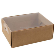 cardboard paper gift box with clear top pvc window lid