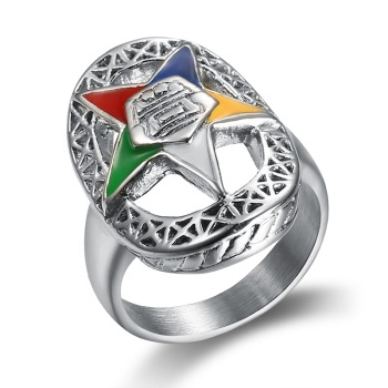 2018 Newest oes ring 316l stainless steel silver  order of the eastern star masonic rings for women