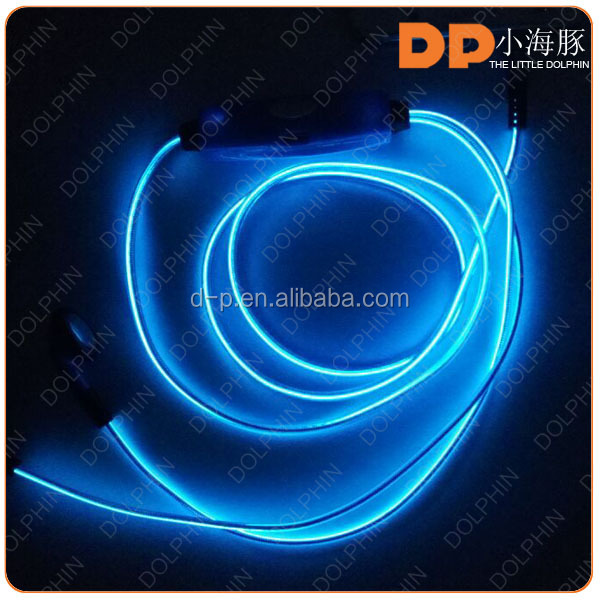 china wholesale el glowing headphone deep bass led earphone with mic for S6 earphone