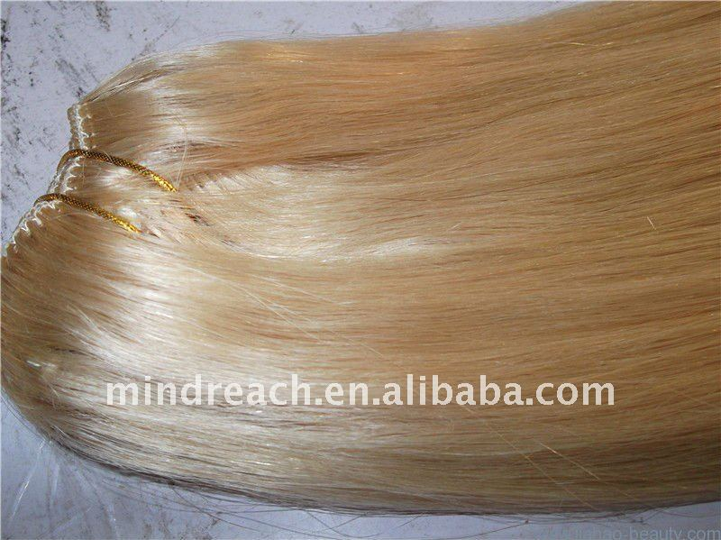 Best quality machined blonde silk straight 100 percent Chinese remy virgin human hair with fast delivery,accept paypal