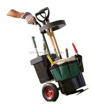 Portable Garden Tool Trolley With Organiser And Buckets