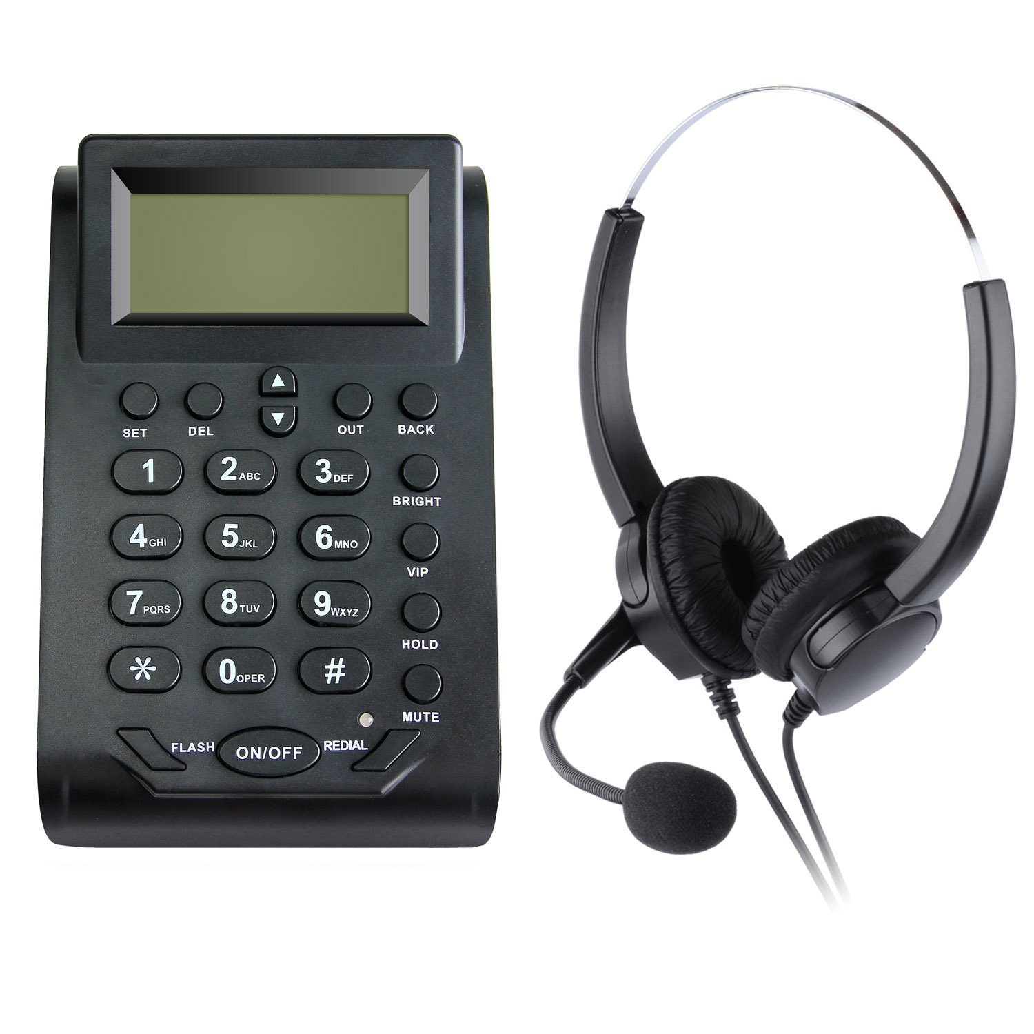 CYecho Call Center Telephone Hands-free Call Center Noise Cancellation Binaural Corded Headset Telephone Desk Phone Headphones Headset w/ PC Recording Function - HT580