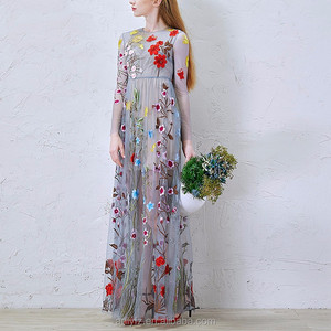 Anly pictures of latest gowns designs long fairy translucent hand embroidery party dress for ladies