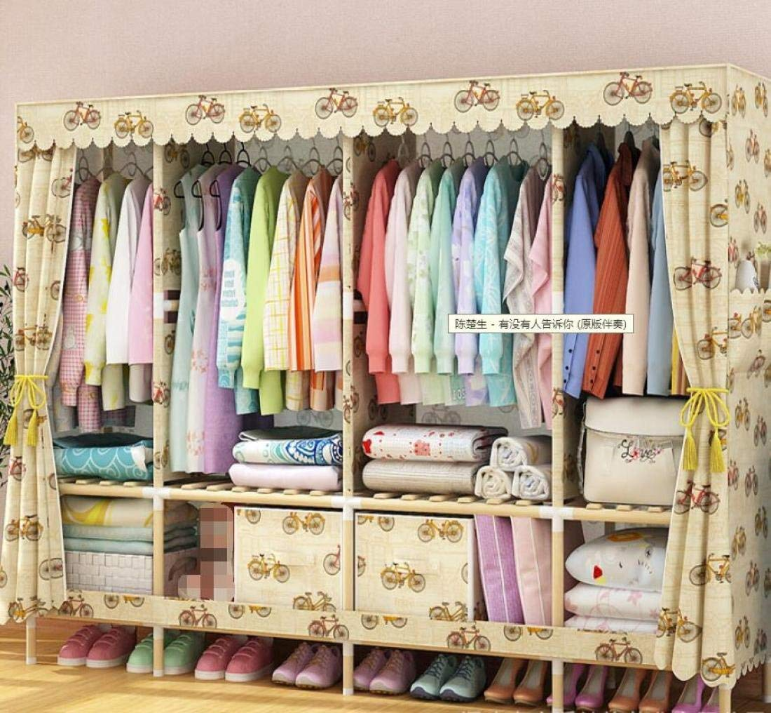 Aljl Portable Clothes Closet Thickening Solid Wood Oxford Cloth Wardrobe Double Rod Storage Organizer Bedroom Clothing