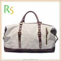 Online Shopping canvas and leather segment Sports Duffel Travel Bag men leather duffel canvas overnight bag