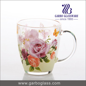 Glass Tea cup With Handle With Flower Designs Printing ,Drinking Glass Mug ,Big Water Glass