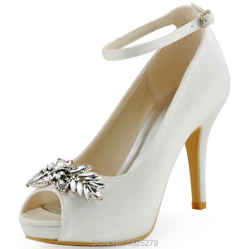bc62235c97c0 Get Quotations · HP1544I White Ivory Women Peep toe Bridal Party Prom Pumps  Buckle Leaves Plateforme Lady Satin Wedding