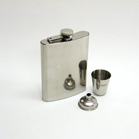 Custom Logo Printed Stainless Steel Engraved Hip Flask Gift Set With Funnel And Cup