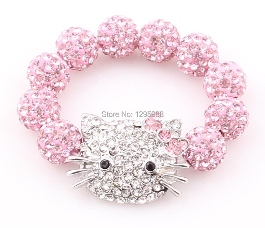 52dadb1b4 Get Quotations · Kids Hello Kitty Shamballa Bead Bracelet Bangle Sideways Kitty  Cat Elastic Children Bracelet Free Shipping ZB73