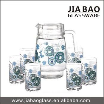 Custom Design Drinking Glass Pitcher Set Machine-pressed 7pcs ...