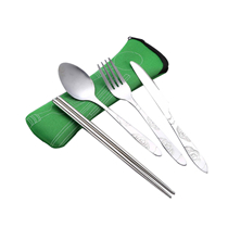 Customized logo 4 pcs knife fork spoon chopsticks set stainless steel portable cutlery set