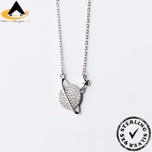2018 Globe Pendant Necklaces, China Manufacturer Wholesale Cubic Zirconia 925 Sterling Silver Necklace Jewelry