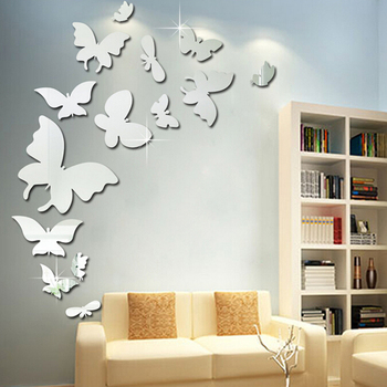 3d butterfly self adhesive wall mirror decoration stickers - buy