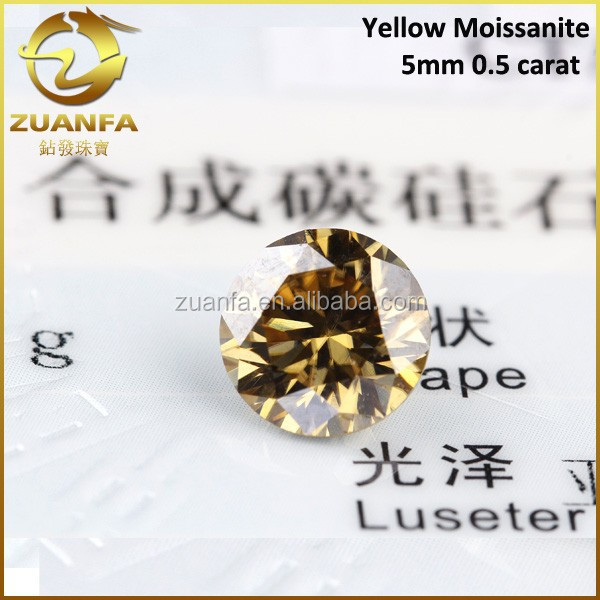 Russia good quality 5mm round yellow synthetic diamond cut moissanite gems