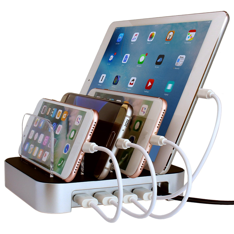 USB Charging Station Dock With Stand Holder 4 Ports 4.4A Multi Function USB Charger box For Mobile Phone