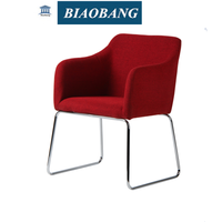 modern style red fabric dinning chair with galvanized legs