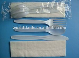 Disposable Biodegradable Starch 4 in 1 cultery set for airlines