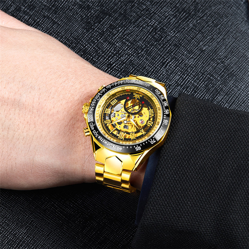 2019 Relogio Masculino Men Watch Skeleton Automatic Mechanical Male Clock Top Brand Luxury Gold Sport Military Army Wristwatch, Any color are available