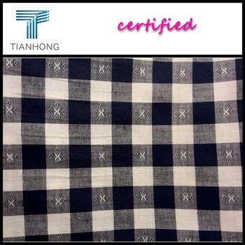 100 Cotton Dobby Fabric Wholesale Textile/yarn Dyed Plaid Fabric Shirt For  Man Custom/