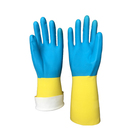 Blue neoprene and yellow latex dipped Industrial gloves/blue safety neoprene and latex glove