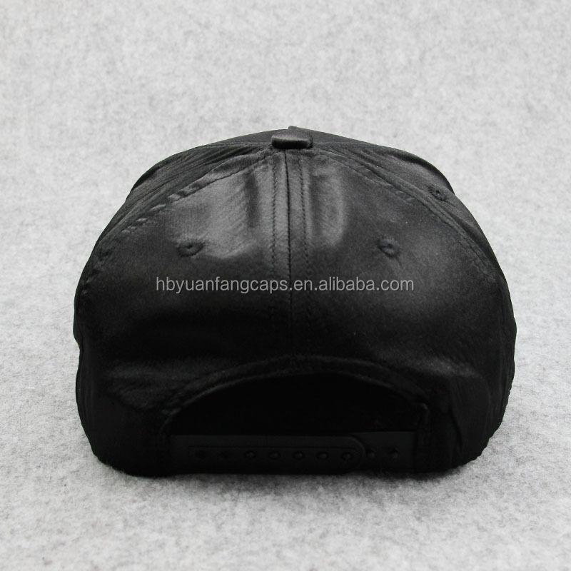 c2bc3db7665 Black Satin 5 Panel Snapback Hats