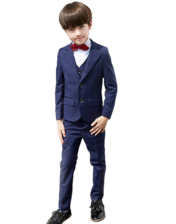 SK Studio Boys' 4 Pieces Solid Color Dresswear Party Wedding Suits