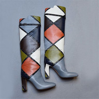 Chengdu shoes factory low price women genuine leather long knee boots wholesale
