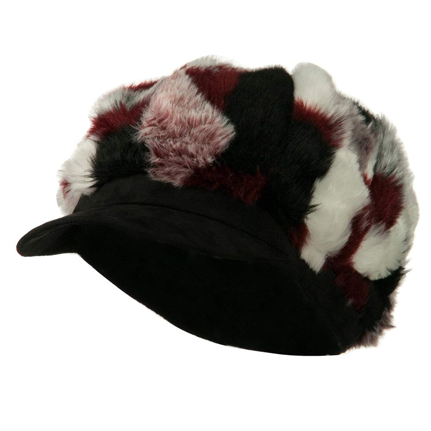 f28850996d3 Get Quotations · Faux Fur Suede Bill Newsboy Hat - Red Combo