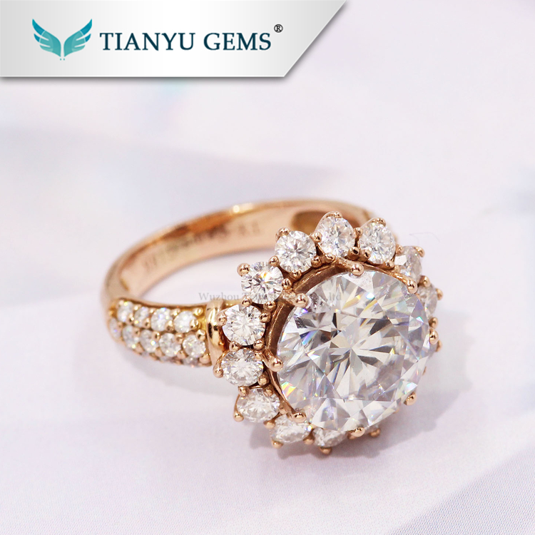 Tianyu customized Super sparkle 5ct DEF Colorless white moissanite diamond rings in 14k 18k Rose gold jewelry