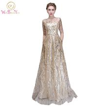 74034e0fa8d Walk Beside You Gold Bling Evening Dresses Champagne Sequined A-line  Elegant with Belt Prom