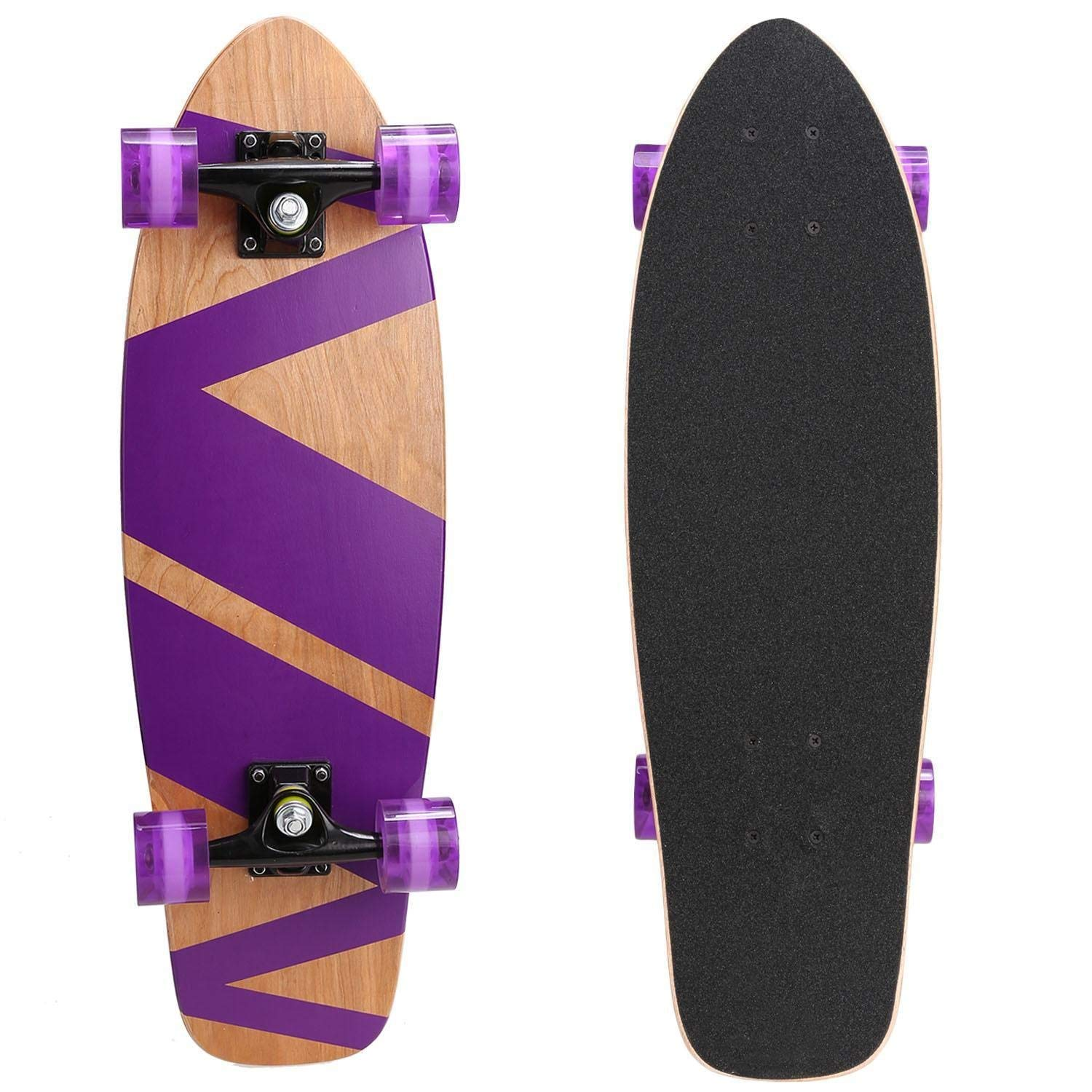 f84ee84257 Get Quotations · 27inch Cruiser Style Skateboard Outdoor Fun Wooden Deck  Skate Board
