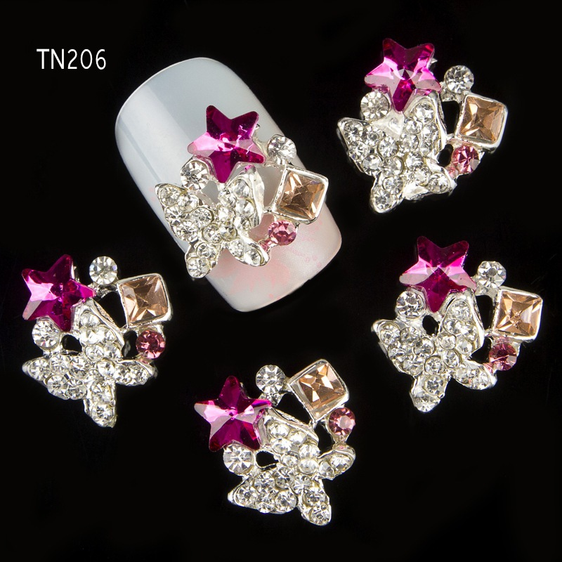 10pcs Glitter Butterfly Rhinestones 3d Nail Art Decorations with Star Alloy Nail Charms Jewelry for Nail