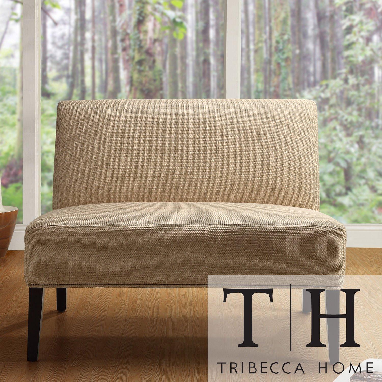 Metro Shop TRIBECCA HOME Easton Beige Linen Fabric 2-seater Accent Loveseat