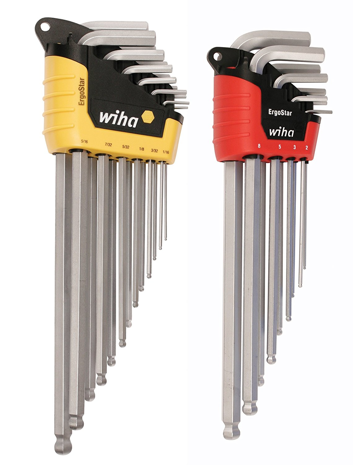 WIHA 66982 ErgoStar Ball End Hex L-Key, Inch and Metric, 22-Piece
