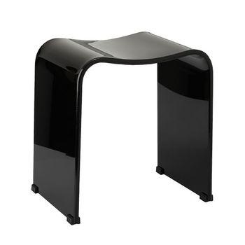 Charmant U0026quot;Waveu0026quot; Acrylic Shower Stool Or Bench, Black
