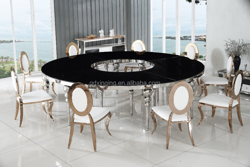 Whole Round Extra Large Seats Tempered Gl Italian Marble Dining Table Th405