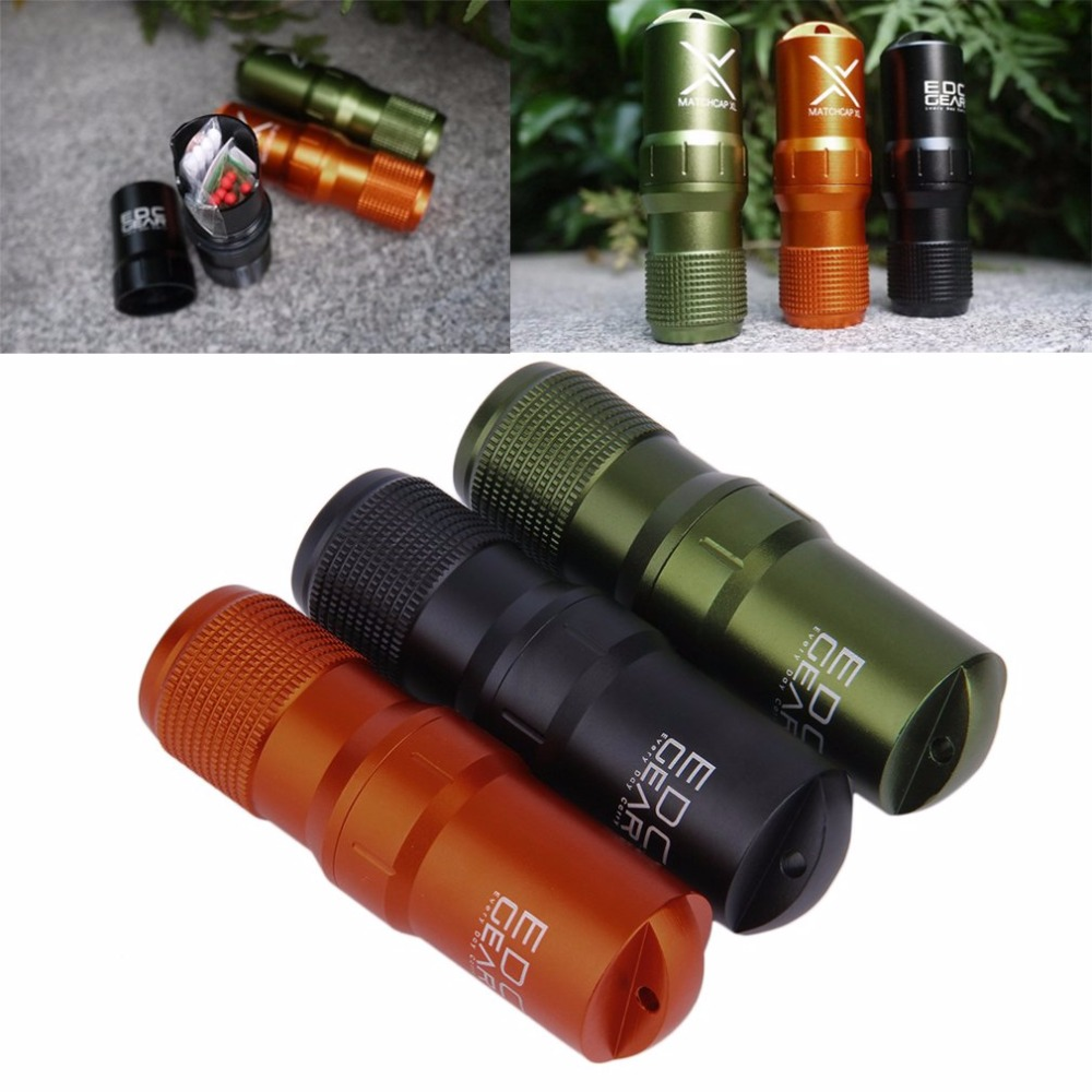 Outdoor Waterproof Aluminum Survival Gear Kit Match Case Box Container