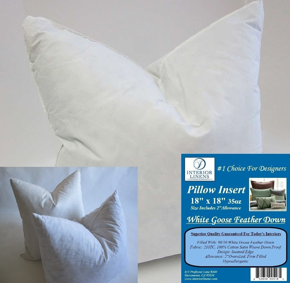 """2 Pillow Inserts: 18""""x18"""" 35oz. 90/10 White Goose Feather Down - 2"""" Oversized & Firm Filled (Actual Size: 20""""x20"""")"""