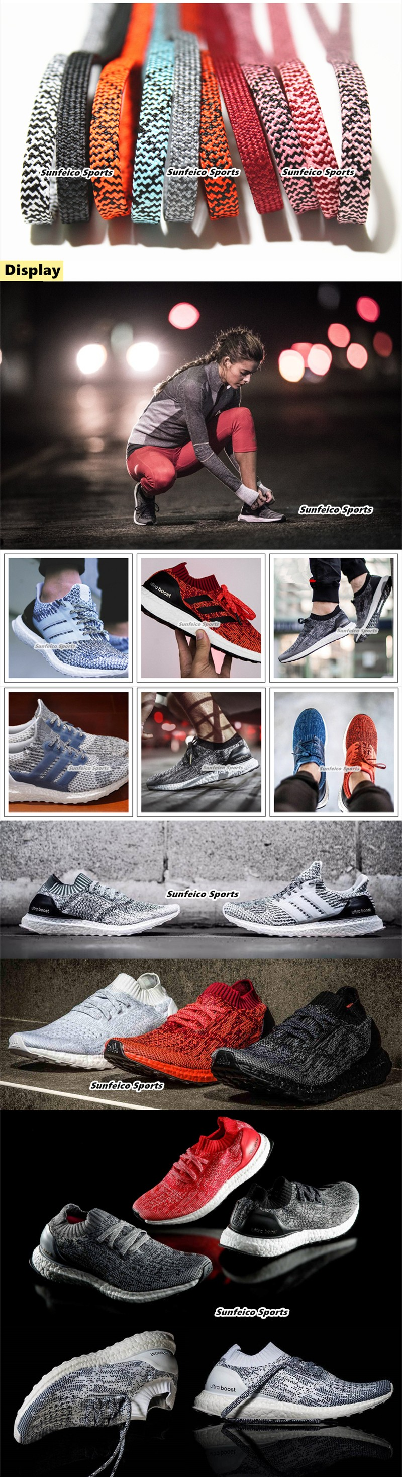 1e085d61a9b Flat Athletic Shoelaces Mixed Pattern Sneaker Shoelaces for Adidas Ultra  Boost Shoes