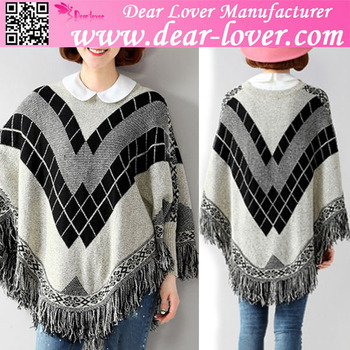 Light Gray Women Pullover Batwing Patterned Poncho Wool Handmade ...