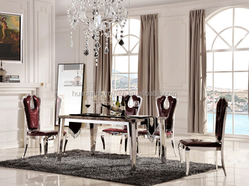 Marble Top Stainless Steel Frame Dining Table DH 1414 Part 84