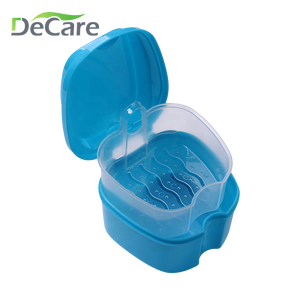 Dental Denture Bath Container False Teeth Box With Basket Storage for full denture